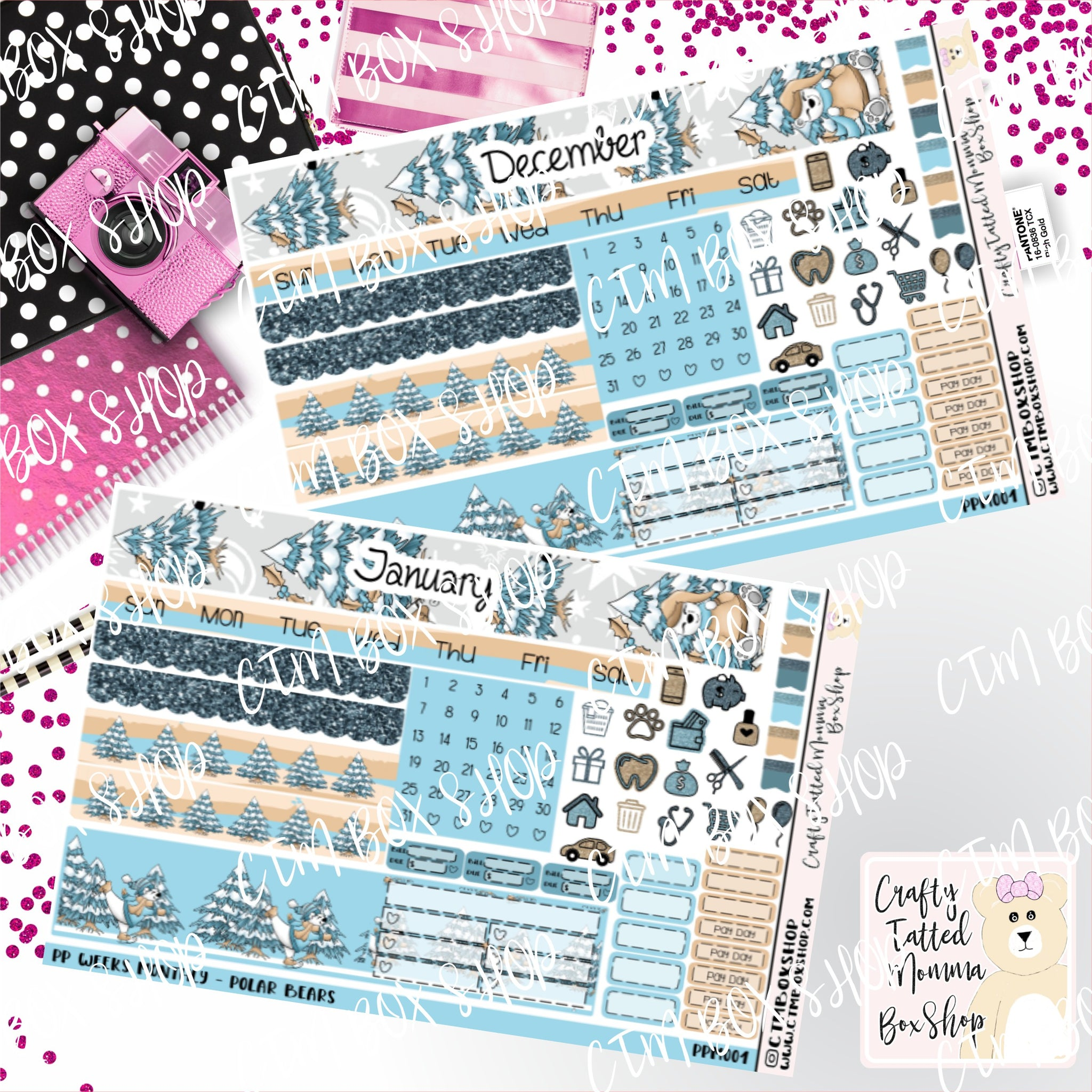 Choose Your Month Polar Bear PP Weeks Monthly Sticker Kit  Monthly Sticker kit   PP Weeks   Planner Stickers    Sticker Kit