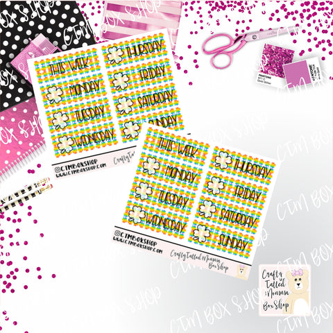 Rainbow St. Patrick Day Clover Date Covers, Fits PP Weeks, B6 TN, EC Vertical or HP Vertical
