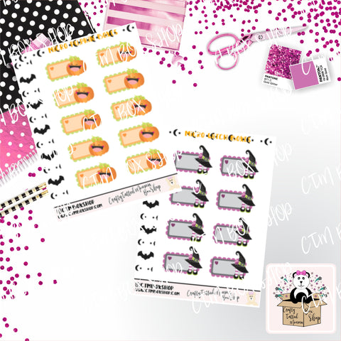 Micro Sticker Sheet Pumpkin or Witch Micro Hobo Boxes  Planner Stickers    Functional Stickers   Micro Planner Stickers
