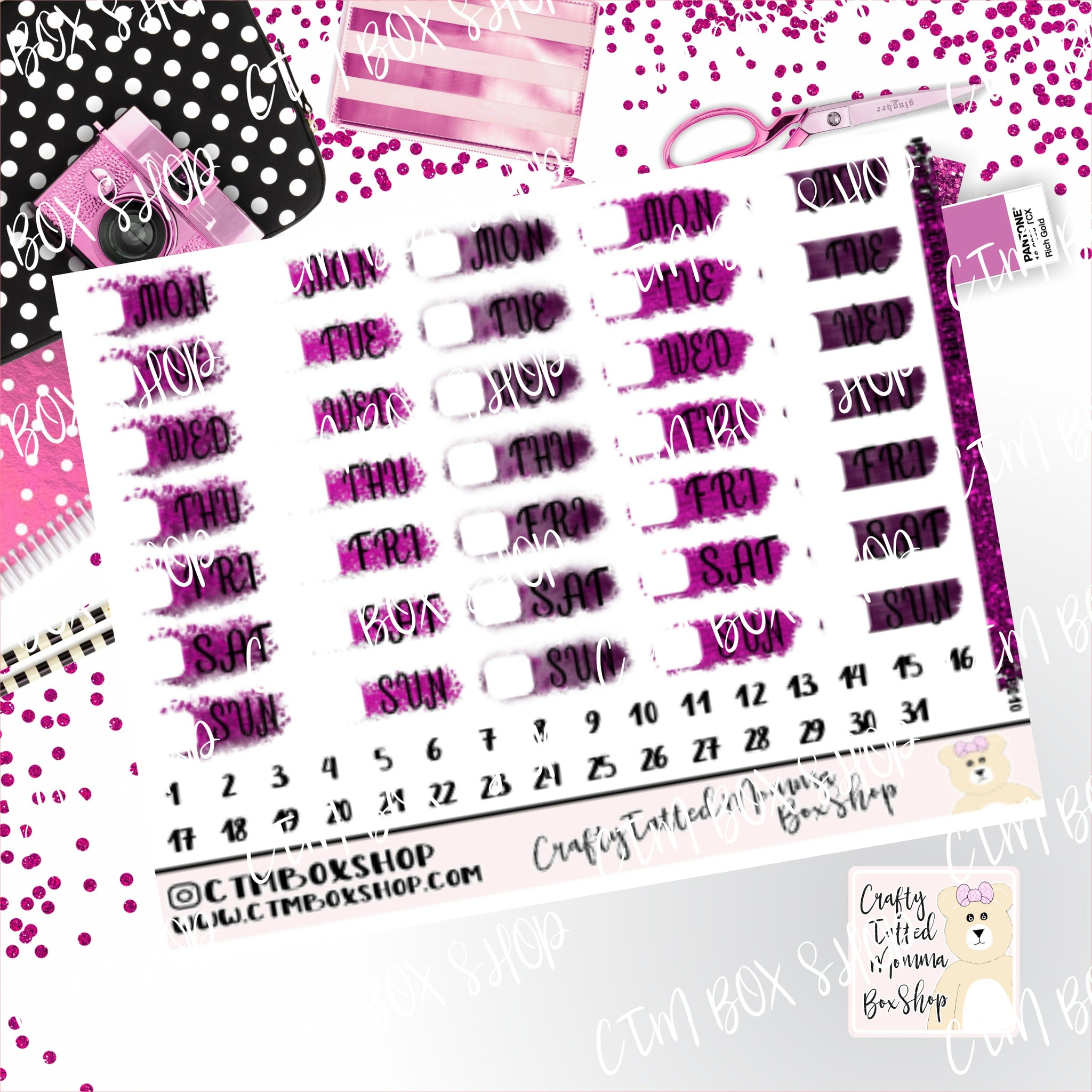 Purple Date Covers Stickers  Planner Stickers   Hobonichi  Techno Weeks   Stickers  Date Covers  Days of the Week