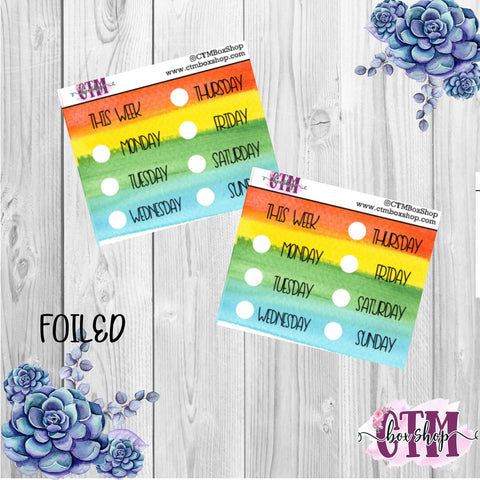 Foiled Rainbow Date Covers   Date Cover Stickers   Planner Stickers   Weeks Stickers   Date Stickers