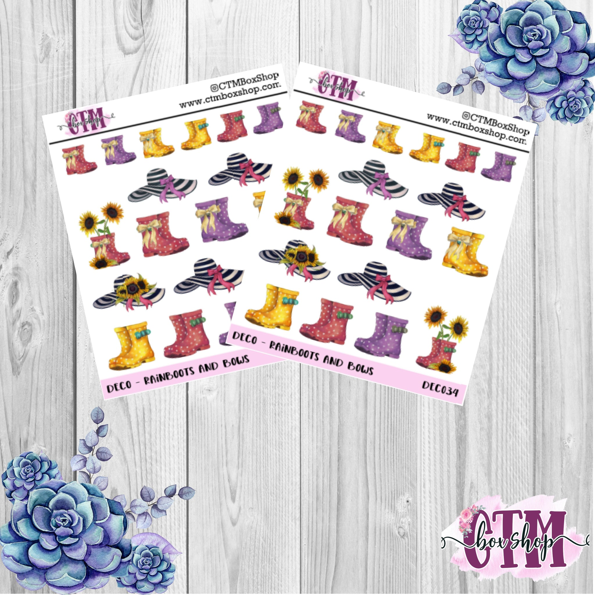 Rainboots and Bows Stickers   Planner Stickers   Deco Stickers