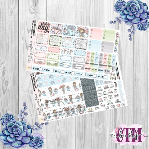 Rainy Day Deluxe Hobonichi Weeks Sticker Kit   Weekly Sticker Kit   Hobonichi Weeks   Planner Stickers   Mini Stickers   Functional Sticker