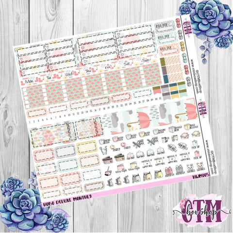 Rainy Day Hobonichi Monthly Sticker Kit   Monthly Sticker kit   Hobonichi Weeks   Hobonichi Stickers    Sticker Kit   Monthly View