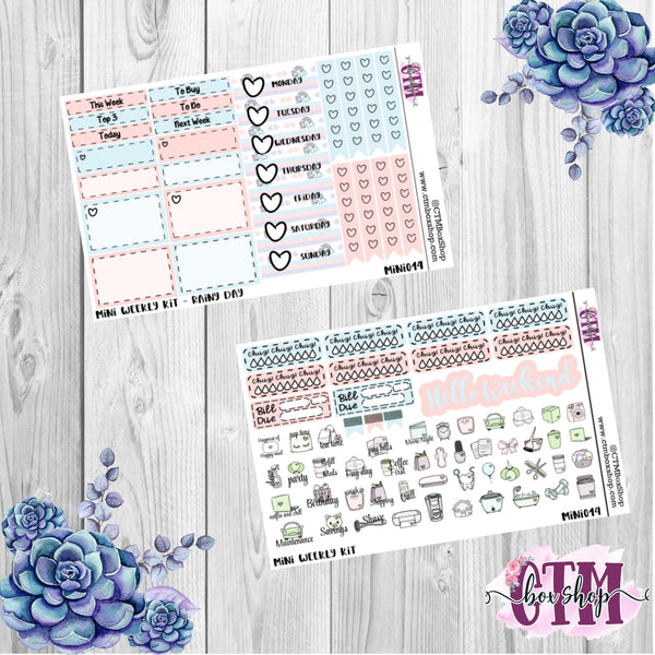 Rainy Day Deluxe Mini Weekly Planner Sticker Kit   Mini Weekly sticker Kit   Traveler's Notebook Stickers   Planner Stickers   Weekly Kit