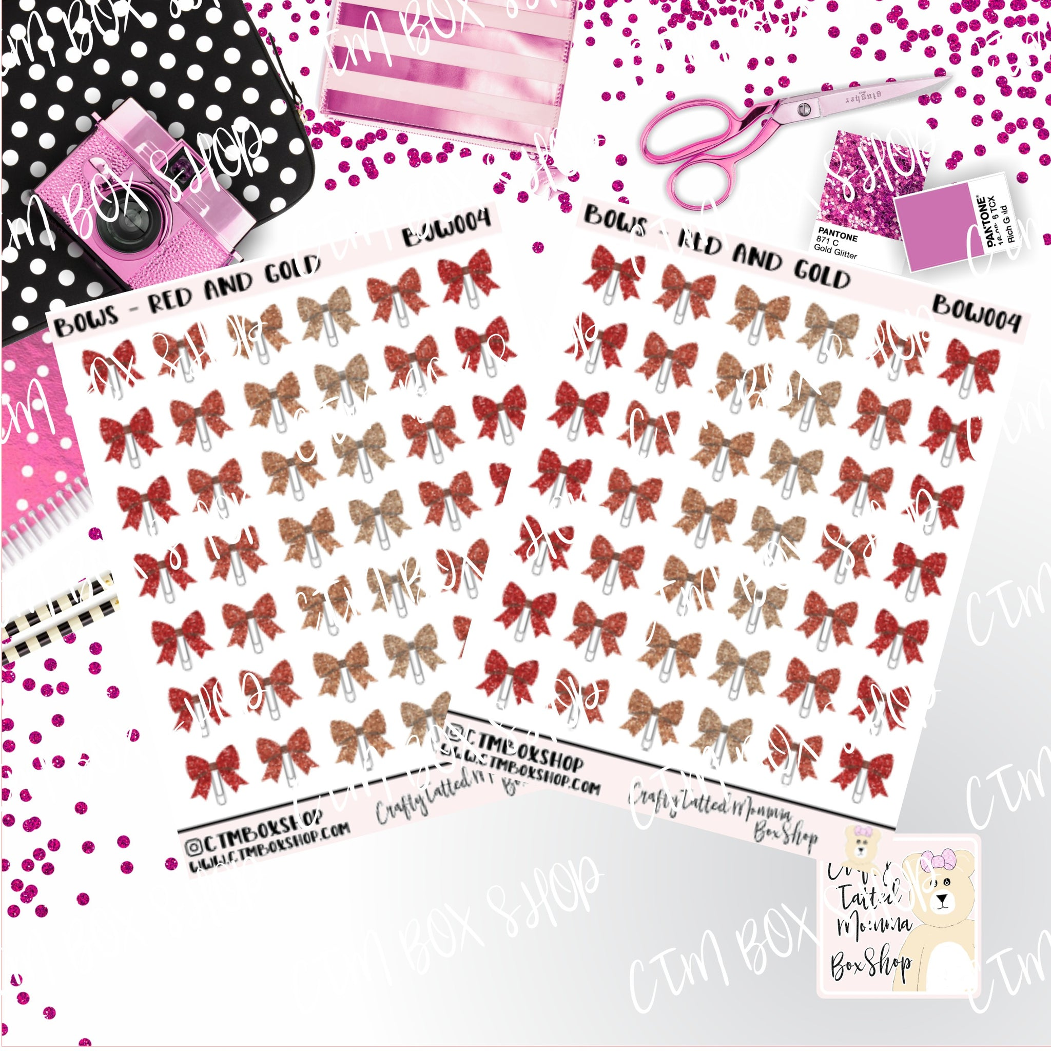 Red and Gold Bow Clip Stickers   Bow Clip Stickers Planner Stickers    Stickers   Deco Stickers