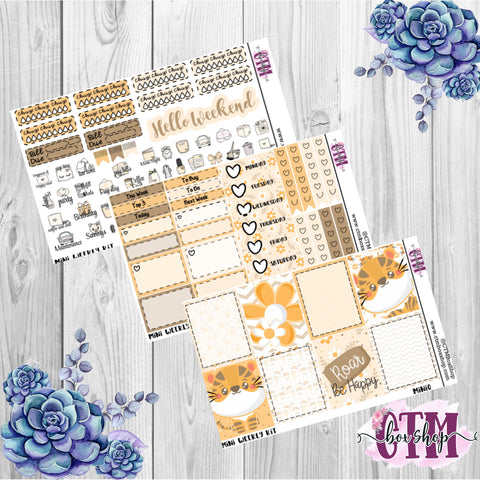 Roar be Happy Mini Weekly Planner Sticker Kit   Mini Weekly sticker Kit   EC Stickers   Traveler's Notebook Stickers   Planner Stickers   Weekly Kit