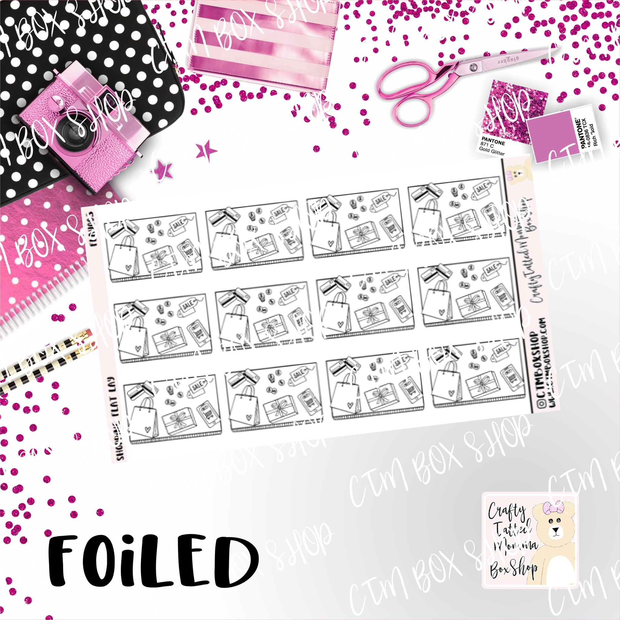 Foiled Shopping Flat Lay Planner Stickers  / Shopping Stickers / Foiled Stickers / Planner Stickers / Flat Lay Stickers