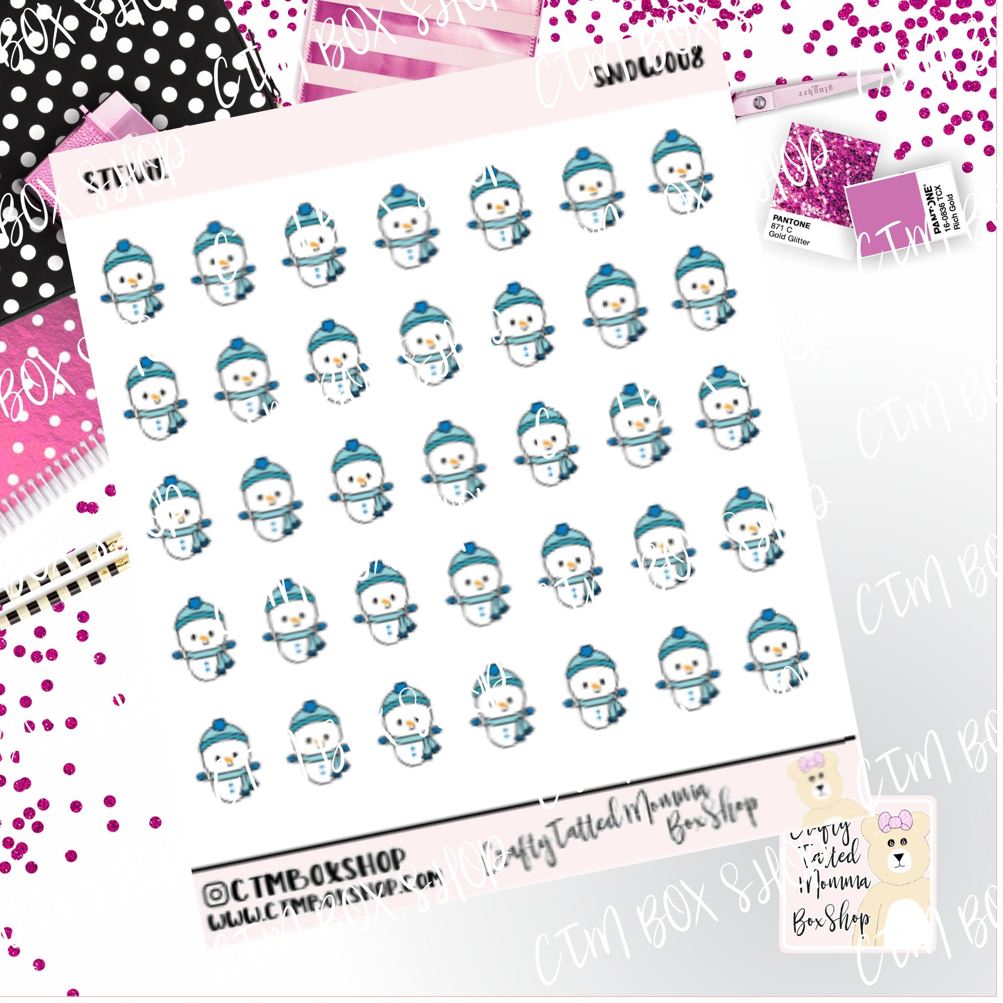 Stevie , Stevie Snowman Stickers   Character Stickers   Planner Stickers   Functional Stickers   Winter Stickers   Deco Stickers