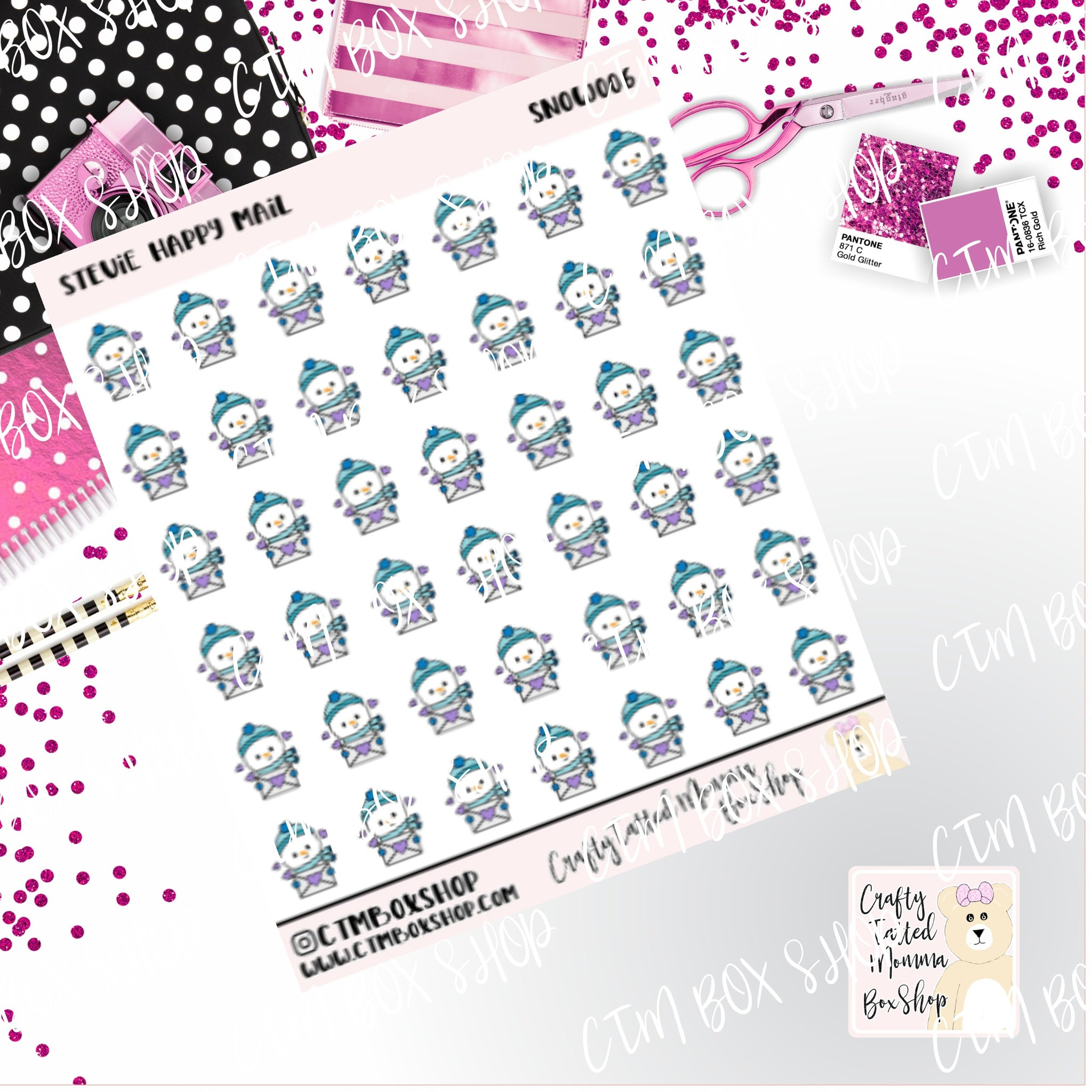 Stevie Happy Mail, Stevie Snowman Stickers   Character Stickers   Planner Stickers   Functional Stickers   Winter Stickers   Deco Stickers