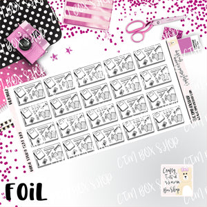 Foiled Study Flat Lay Hobonichi Stickers  / Hobonichi Stickers / Foiled Stickers / Planner Stickers / Flat Lay Stickers