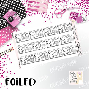Foiled Study Flat Lay Planner Stickers  / Study Stickers / Foiled Stickers / Planner Stickers / Flat Lay Stickers