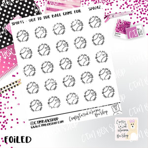 Take Me Out to the Ballgame Foiled Planner Stickers  / Baseball Stickers / Foiled Stickers / Planner Stickers / Stickers