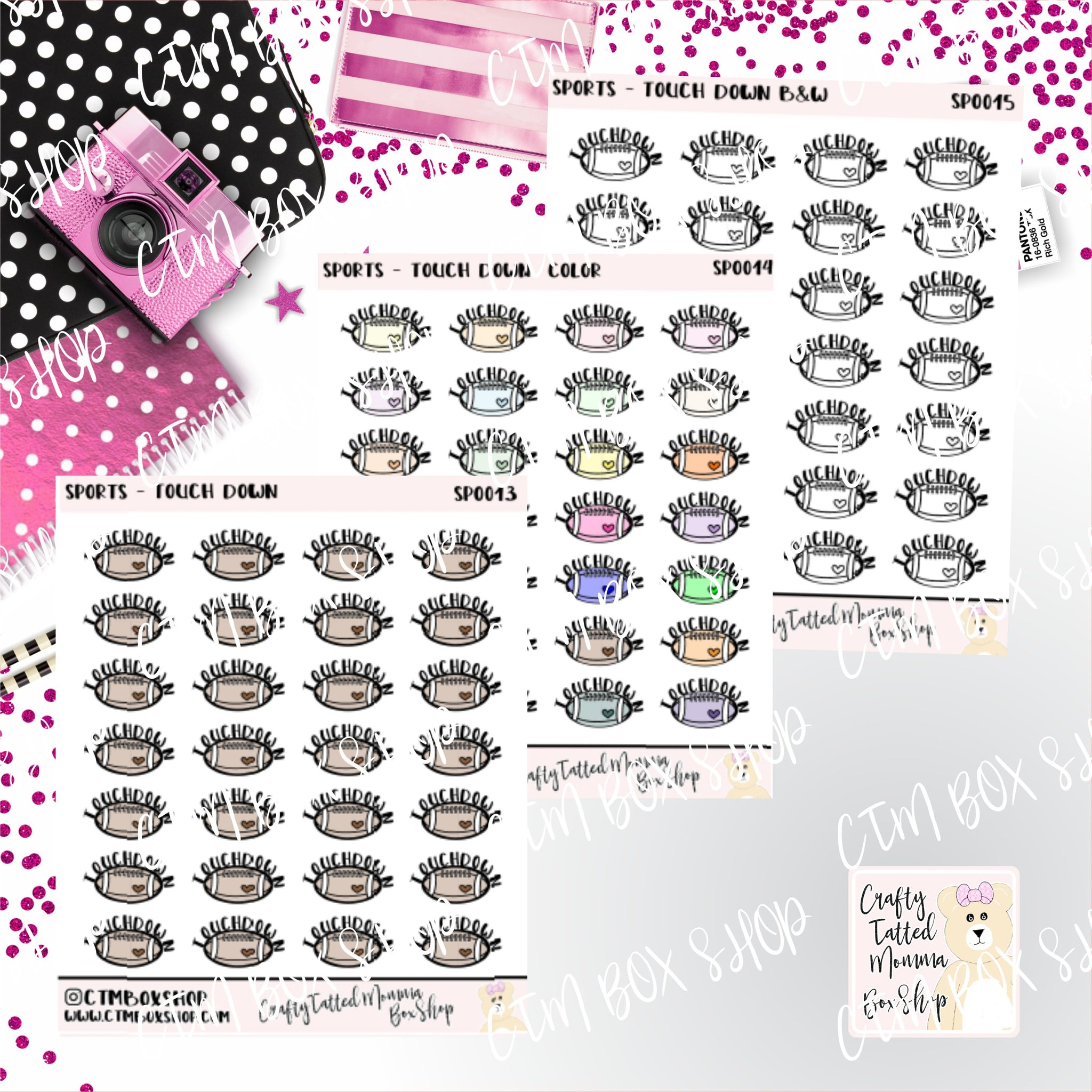 Touchdown Stickers   Football Stickers    Planner Stickers     Stickers   Deco Stickers Functional Stickers