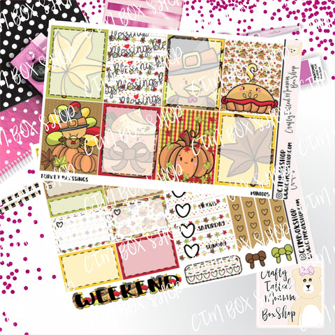 Turkey Blessings Weekly Planner Sticker Kit / Weekly sticker Kit / EC Stickers / Traveler's Notebook Stickers / Planner Stickers / Weekly Kit