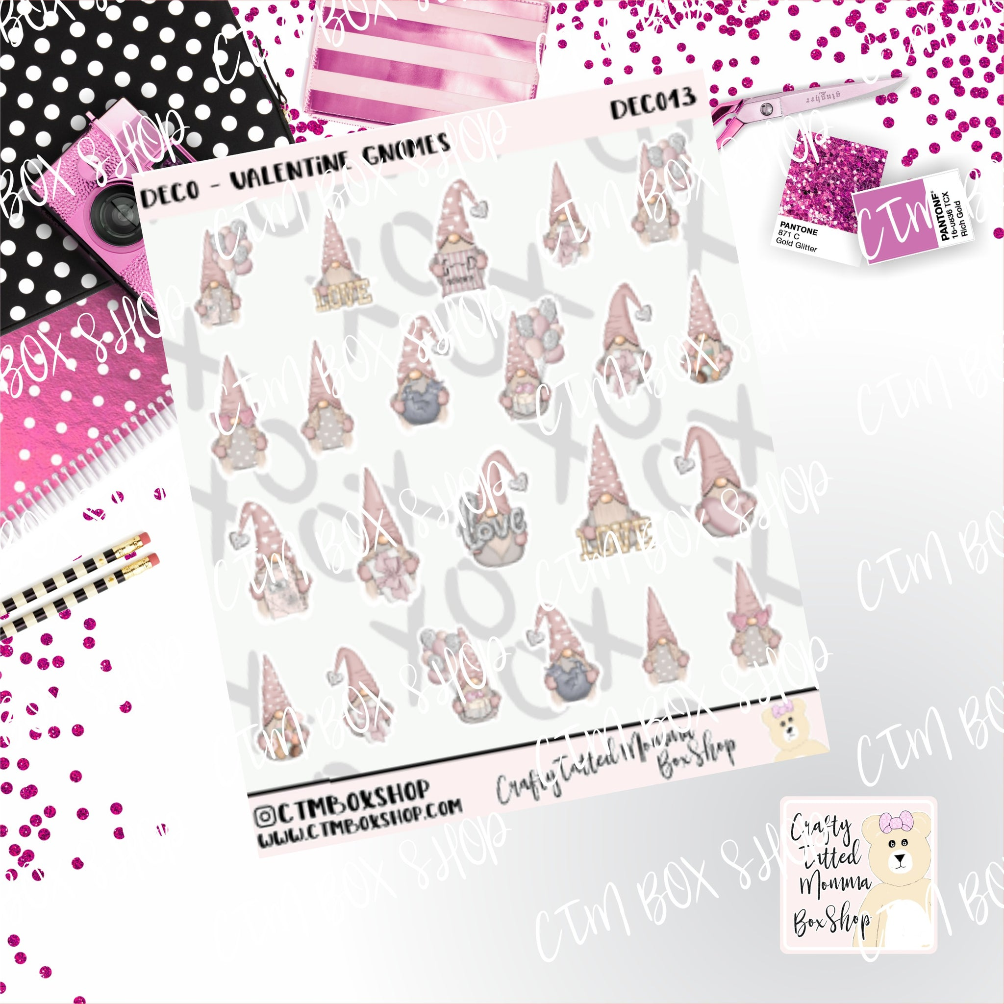 Valentine Gnomes Stickers, Planner Stickers,  Functional Stickers   Deco Stickers Character Stickers