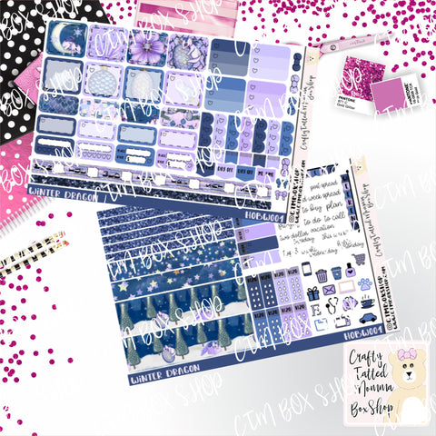 Winter Dragon Deluxe Hobonichi Weeks Sticker Kit   Weekly Sticker Kit   Hobonichi Weeks   Planner Stickers   Mini Stickers   Functional Sticker