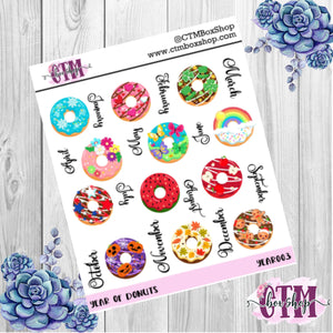 Year of Doughnuts deco stickers, deco stickers, rainbow stickers, planner stickers