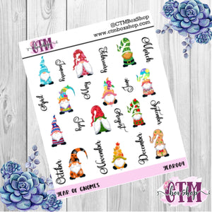 Year of  Gnomes deco stickers, deco stickers, rainbow stickers, planner stickers