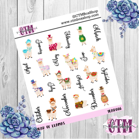 Year of Llamas deco stickers, deco stickers, rainbow stickers, planner stickers
