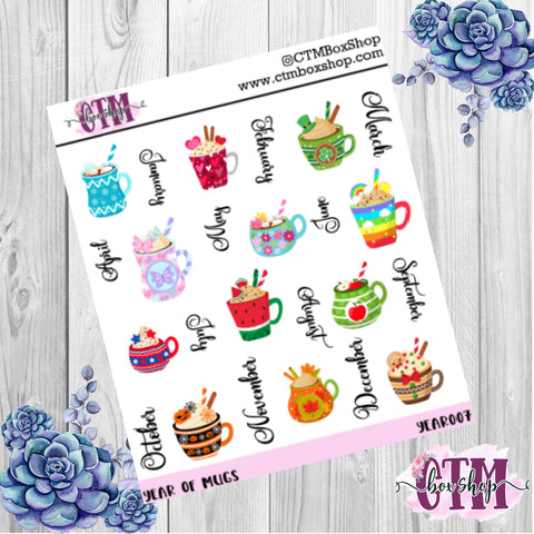 Year of Mugs deco stickers, deco stickers, rainbow stickers, planner stickers