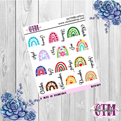 Year of Rainbows deco stickers, deco stickers, rainbow stickers, planner stickers