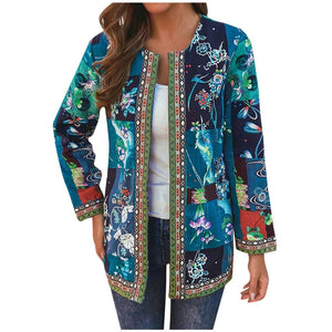 Vintage Ethnic Style Floral Print Long Sleeve Cotton Jacket