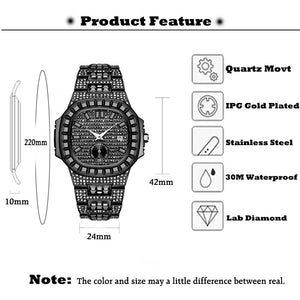 Chronograph Men Stopwatch Fully Iced