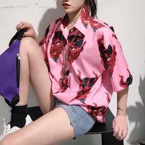 Long Sleeve Blouse Devil Print