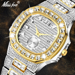 Chronograph Two Tone Gold Diamond Male Wrist Watch