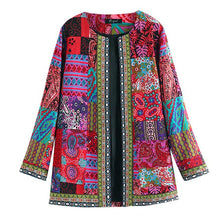 Load image into Gallery viewer, Vintage Ethnic Style Floral Print Long Sleeve Cotton Jacket