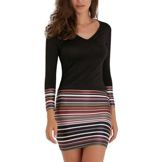 Striped Patchwork Mini Long Sleeve Dress - AMDZ TRENDS