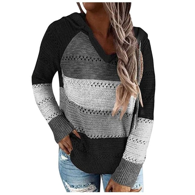 Trendy Sweater With Patchwork For V-Neck And Long Sleeves Blouse Tops