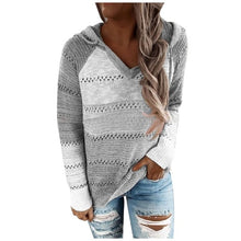 Charger l'image dans la galerie, Trendy Sweater With Patchwork For V-Neck And Long Sleeves Blouse Tops