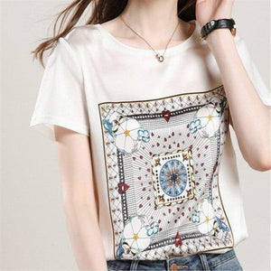short sleeved O Neck stitching fashion loose printed wild - AMDZ TRENDS
