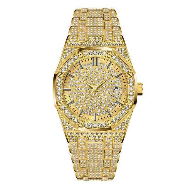 Iced Out Male Quartz  18K Gold Watch