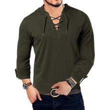 Load image into Gallery viewer, Hooded Long Sleeve Cotton Henley T Shirt - AMDZ TRENDS