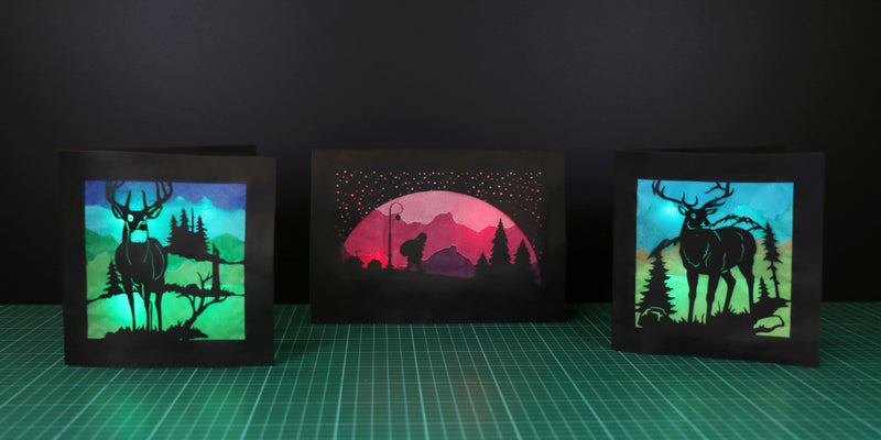 LED Silhouette Christmas Cards