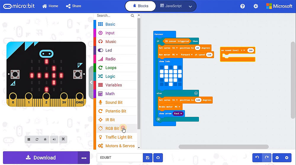 Edu:bit Training & Project Kit for micro:bit (without micro:bit) code example