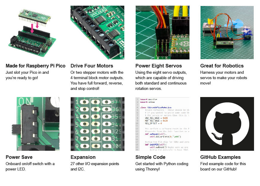 Introducing The Kitronik Robotics Board For Raspberry Pi Pico features