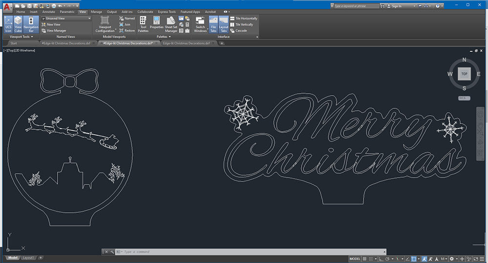 Laser Cut Edge Lit Signs For Christmas 2020 in Autocad