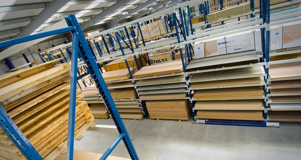plywood stored on shelves