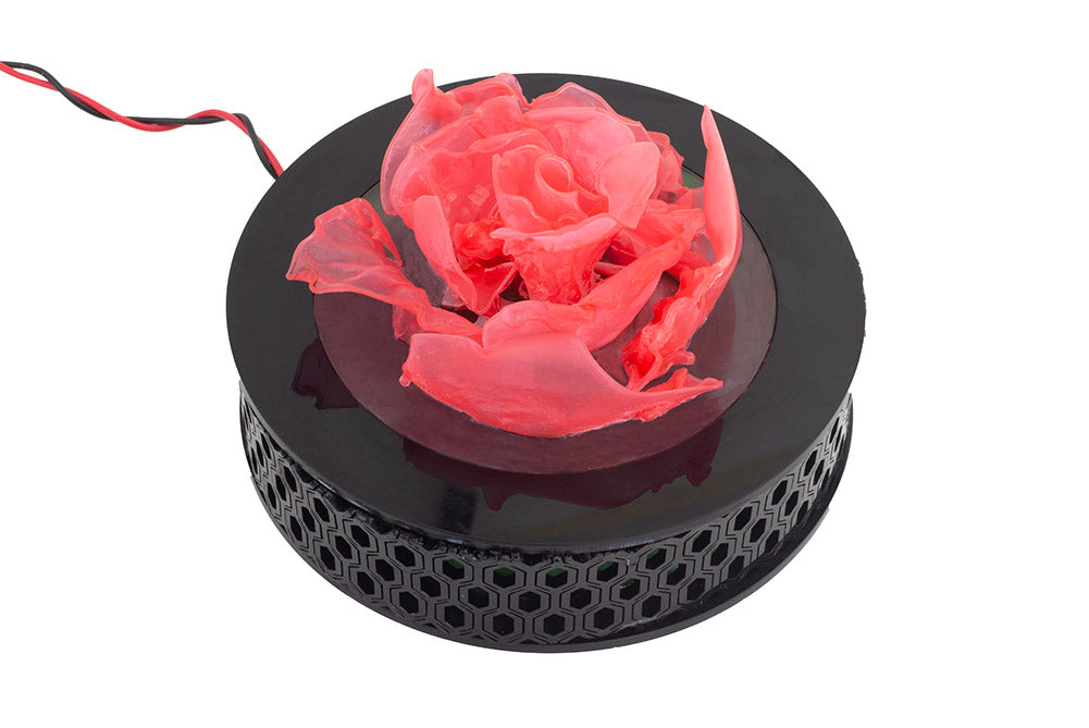 Lasercut & Thermoformed Polypropylene Rose Lamp complete