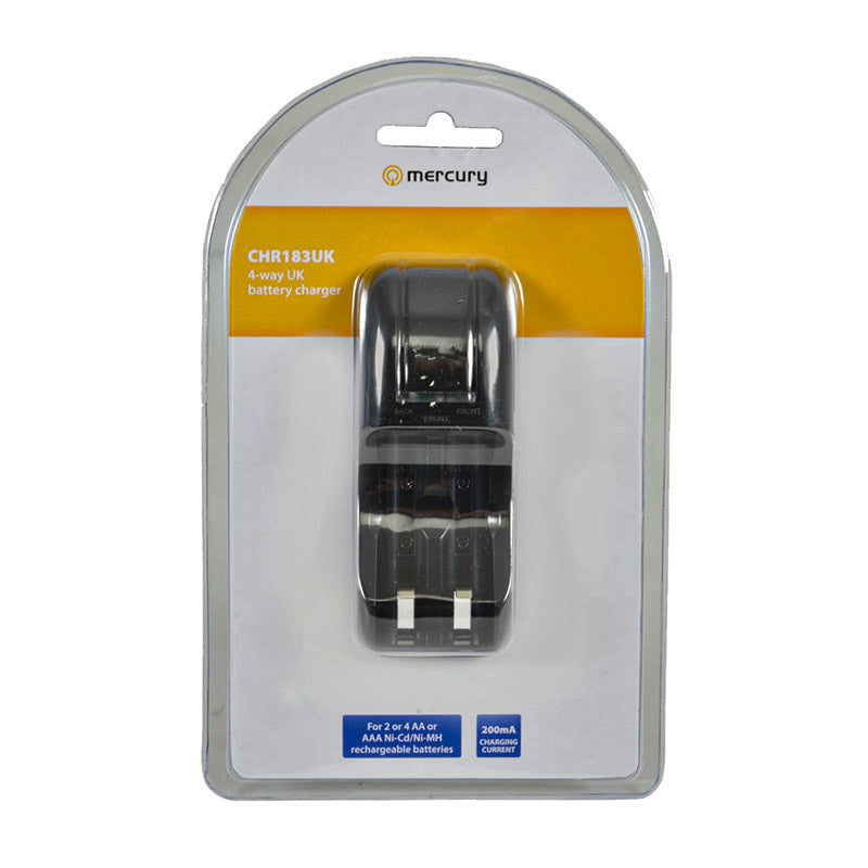 additional mercury 4 way chr183uk aa aaa ni cd ni mh battery recharger pachaging front