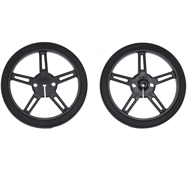 large 60mm 8mm black wheels pair for 3mm d shaft