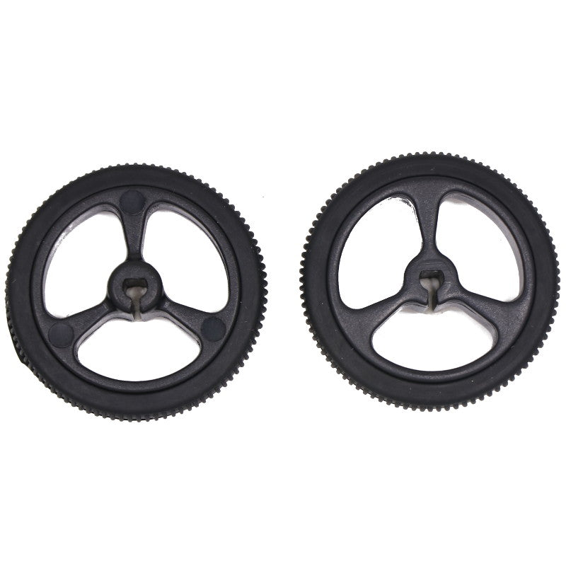 large 32mm 7mm black wheels pair for 3mm d shaft