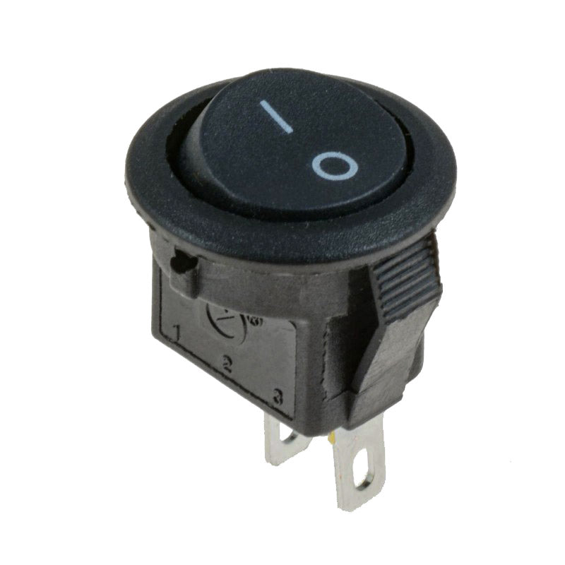 large miniature round black on off switch jst rocker spst snap in 10 pack