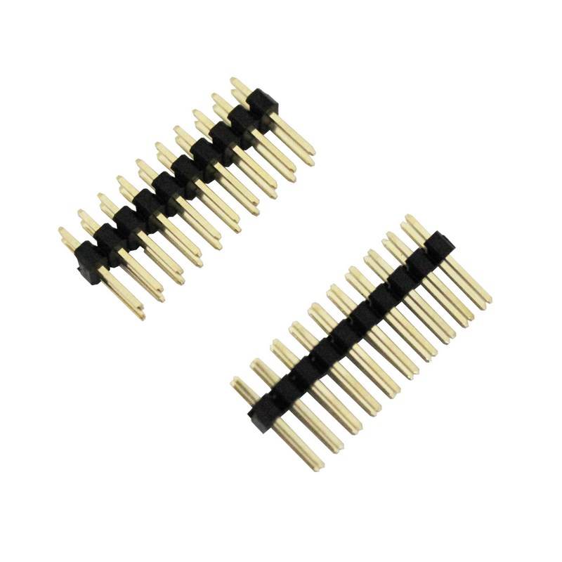 large straight double row pcb pin headers 2 54mm 2 x 10 way pack of 2