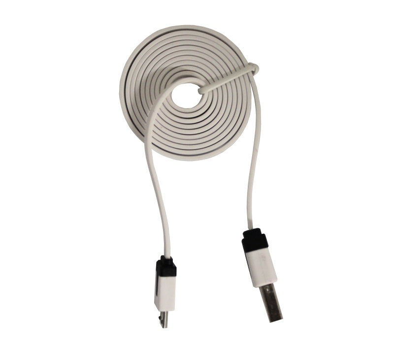 large 1m usb noodle cable white