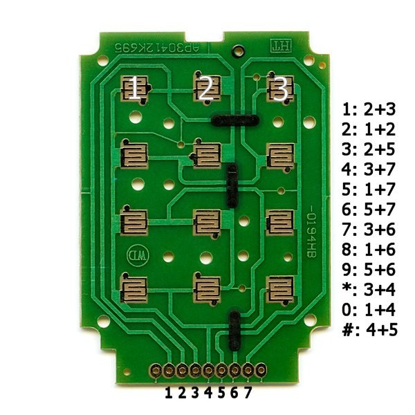 additional 12 button keypad pcb top